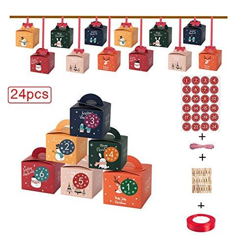 RecoverLOVE Juego de Calendario de adviento de Bricolaje, 24 Cajas de cartón Impresas para Hacer y llenar Navidad Calendario de adviento Caja de Kraft para niños Cuenta Regresiva para Navidad