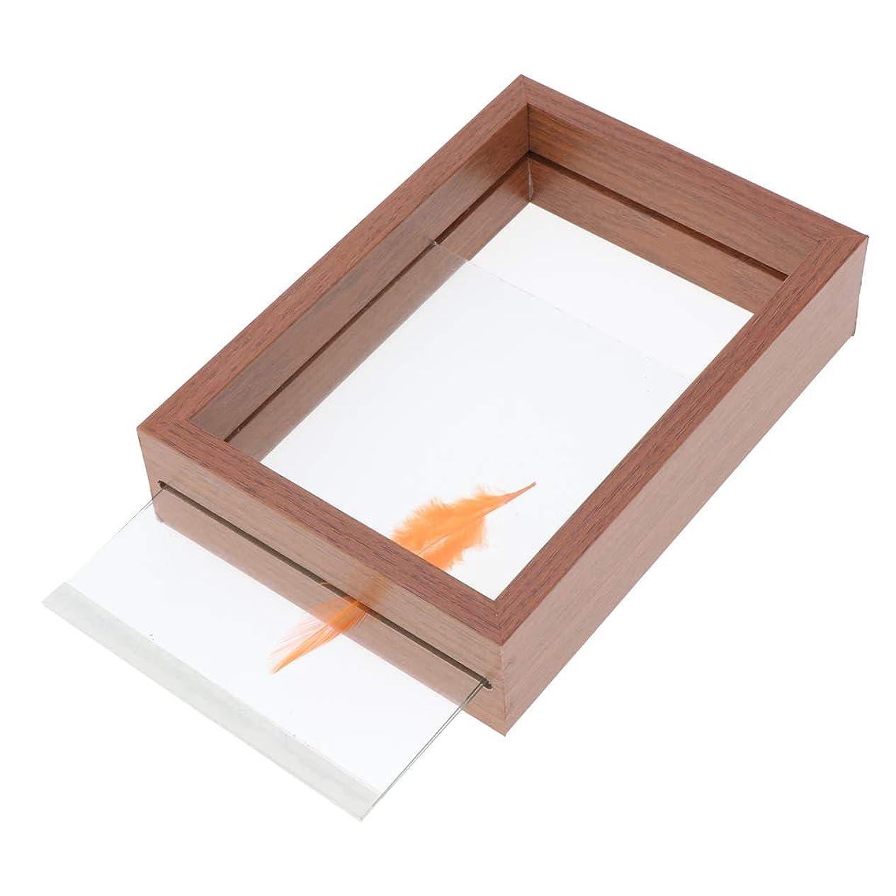 純粋な足枷葉を集めるフォトフレーム 標本フレーム DIY 植物 昆虫 ウッドフレーム 両面ガラス DIY 2サイズ - ブラウン, 10×13.5×4cm