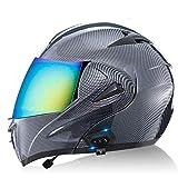 Bluetooth Integrado Modular Casco Moto, Casco de Motocicleta de Cara Completa Modular con Visera Doble Antivaho Certificación ECE D,L=59~60cm