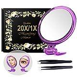 Miroir grossissant 20X 5 pouces avec pince à épiler - Parfait pour une application précise de maquillage pour les poils du visage, les points noirs et les tiques Argenté with Stand.