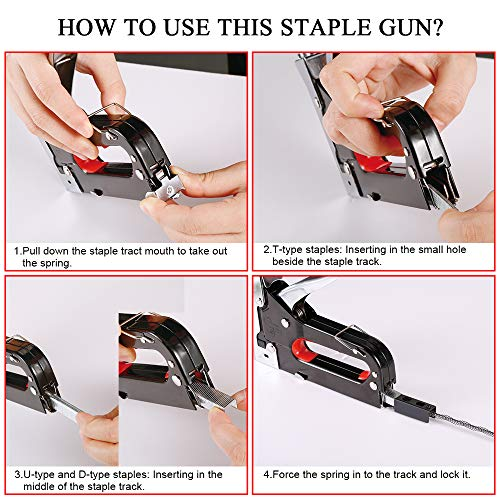 Staple Gun, 3 in 1 Staple Gun Kit with 3000 Staples and Stapler Remover Adjustable Heavy Duty Stapler for Wood Upholstery Crafts Cable Fixing Material Furniture Decoration Photo #6