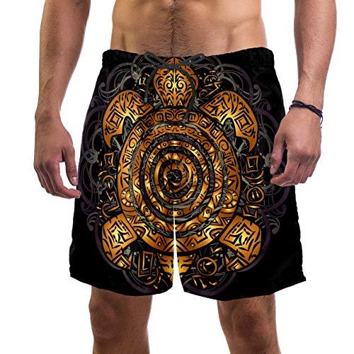 LORVIES - Bañador para hombre, diseño de tortuga marina tribal polinesia, color dorado, talla L