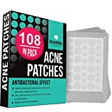 ICONIC Acne Pimple Healing Patch - Absorbing Cover, Invisible, Blemish Spot, Hydrocolloid, Skin Treatment, Facial Stickers, Two Sizes, Blends in with skin (108 Patches)