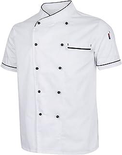 HOMYL Unisex Summer Breathable Chef Jacket Coat Kitchen Bakery Uniform Short Sleeves Black White Chef Apparel M-2XL