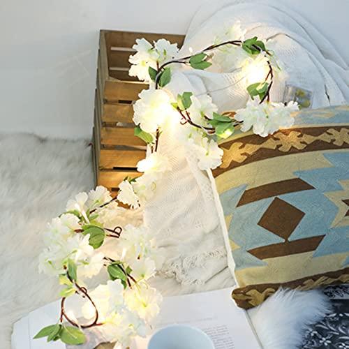 XKMY Cadena de luces LED de jardín de 2 m, 20 ledes, flores artificiales, luces de cadena de luces de hadas con pilas para decoración de habitaciones al aire libre, decoración de Navidad