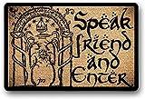 "LHM Felpudo con texto en inglés ""Speak Friend and Enter"", antideslizante, de goma, 40 x 60 cm"