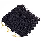 14'Wavy Senegalese Twist Free Ends Synthetic Braiding Hair Extensions 35 Roots/Pack 85g Kanekalon Ombre Jumbo Crochet Braids Pre-looped Hair (3 pcs 14 inch, 1b)