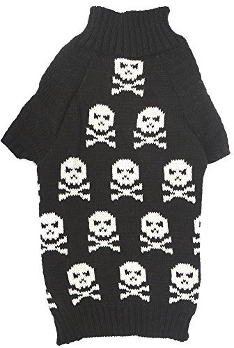 Lanyar Black Pet Halloween Holiday Clothes Skull Dog Sweater for Small Dogs, Small (S) Size
