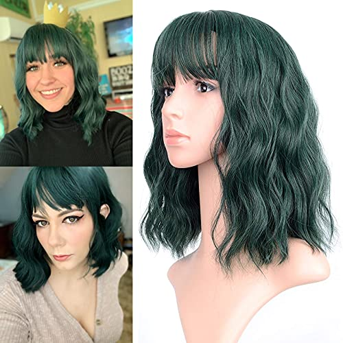 """FAELBATY Short Green Wigs With Air Bangs Shoulder Length Bob Wig For Women Curly Wavy Synthetic Cosplay Wig for Girl (12"""" Dark Green)"""