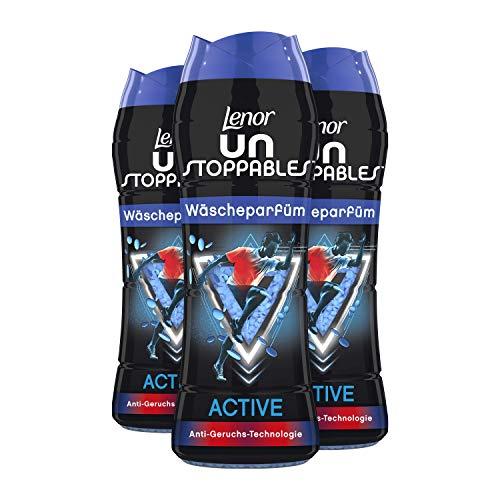 Lenor Wäscheparfüm, Wäscheduft, Unstoppables Wäscheparfüm, Active mit Anti-Geruchs-Technologie, 45 Waschladungen (3 x 210 g)