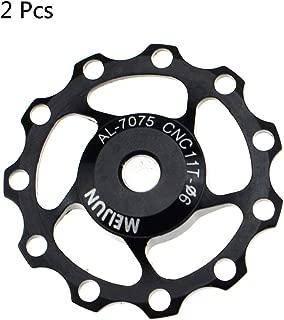 CYSKY Derailleur Pulley 11T Rear Derailleur Jockey Wheel Fit for Road Bike, Mountain Bike, MTB, BMX (2 Pack, Aluminum Alloy, Black/Red/Silver)