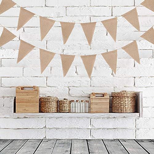 Dandelionsky 36 banderines de tela triangular, 10 m, doble cara, banderines florales, banderines de tela vintage Shabby Chic decoración para bodas, cumpleaños, fiestas de bebé, 17 x 19 x 19 cm