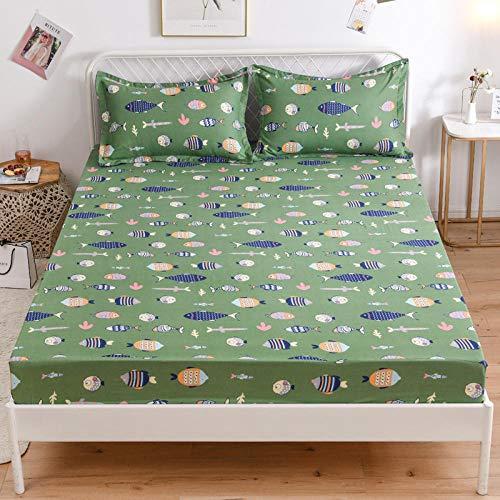 HPPSLT Protector de colchón de Rizo algodón y Transpirable Sábana de Cama de algodón Aloe Simple antideslizante-12_100 * 200cm