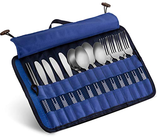 13 Piece Stainless Steel Family Cutlery Picnic Utensil Set with Travel Case for Camping | Hiking | BBQs - Includes Forks...