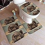 Hermoso adorable cachorro de laboratorio de chocolate Sweet Pretty Cute Labrador Home Collection Juego de alfombra de baño de 3 piezas, juego de alfombra de baño absorbente suave de franela antidesliz