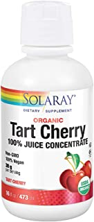 Solaray Organic Tart Cherry 100% Juice Concentrate   Healthy Uric Acid Levels & Joint Support   16 Servings   16 fl oz