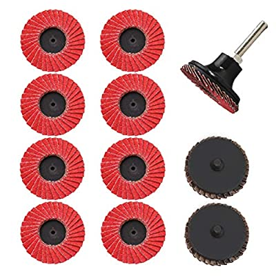 COSPOF 2 Inch Roloc Sanding Disc,Surface Conditioning Quick Change Sanding Disc.Germany-made Ceramic Material Brings Two Times Stronger Cutting Power.Flap Discs 10 Pack + Roloc Disc Pad Holder 1 Pack.