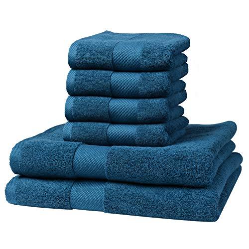 Pretty See Juegos de Toallas 6 Paños de algodón 100% Algodón 2 Toallas de baño y 4 Toallas de Mano para baño peluquería Toallas de SPA y Masaje Verde malaquita