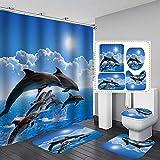 RongWang 3D Ocean Design Dolphin Tela Impermeable Cortina De Baño Cortinas De Ducha Set Alfombras Antideslizantes Cubierta De La Tapa del Inodoro Alfombra De Baño (Color : 4)