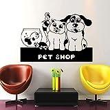 Animal perro gato pez dorado tortuga pájaro acuario tienda de cuidado de animales vinilo extraíble arte pared pegatina Mural 57 * 86Cm