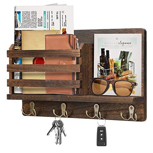Estantería de pared madera para colgar llaves, con estante, organizador pared, ganchos revistas, cartas, periódicos, folletos
