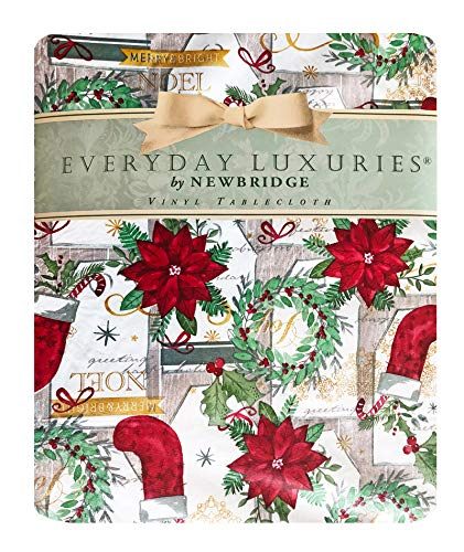 "Newbridge Merry Christmas Stocking Holiday Vinyl Flannel Backed Tablecloth - Noel Christmas Wreath, Festive Seasons Greetings Print Wipe Clean Easy Care Xmas Tablecloth, 60"" x 84"" Oval"