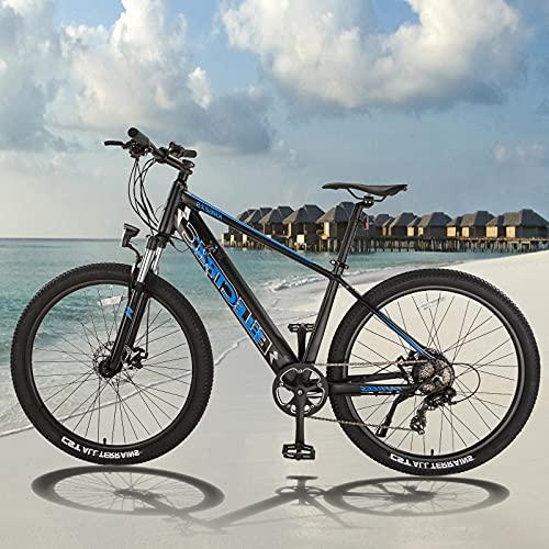 Bicicleta Eléctrica de Montaña 250 W Motor Mountain Bike de 27,5 Pulgadas E-Bike Shimano 7 Velocidades Hombres Mujeres con Instrumento LCD Central & Autonomía Buena
