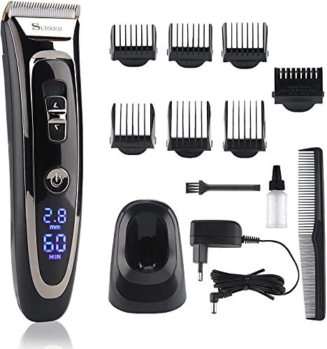 Lovebay Haarschneidemaschine Herren, 11-in-1 Profi Haarschneider elektrisches Bartschneiderset, 28 Längen 7 Aufsätze, wiederaufladbare Leistung, Keramik, Titan und LCD-Display Männer Haar Rasierer