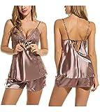 Pagacat Pyjama Damen Damen Kurz Satin V-Ausschnitt Schlafanzüge 2 Stück Spitze Nachtwäsche(Kaffee,M)