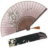 OMyTea 'grassflowers' 21cm abanicos plegables de mano–con una funda de tela para protección para regalos–estilo retro...