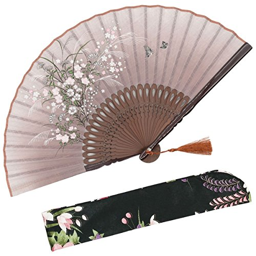 OMyTea'Grassflowers' 8.27'(21cm) Hand Held Folding Fans - with a Fabric Sleeve for Protection for Gifts - Chinese/Japanese Vintage Retro Style (Brown)