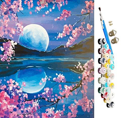 Pintura por números para adultos niños pintura de bricolaje por números kit de pintura al óleo en lienzo para adultos principiantes con pinceles y pigmento acrílico,16 x 20 pulgadas (sin marco) (Luna)