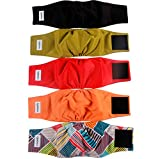 vecomfy Belly Bands for Male Dogs 5 Pack,Premium Black Mesh Lining Small Dog Belly Wrap Leakproof Washable Reusable Puppy Diapers,S