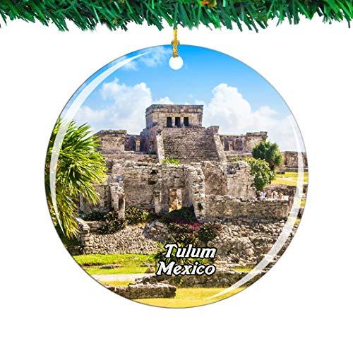 Weekino México Tulum Ruinas Mayas Cancún .PNG Navidad Ornamento Ciudad Viajar Recuerdo Colección Doble Cara Porcelana 2.85 Pulgadas Decoración de árbol Colgante
