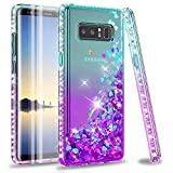 LeYi Galaxy Note 8 case with 3D PET Screen Protector [2 Pack] for Girls Women, Glitter Bling Sparkle Liquid Quicksand Flowing Clear Phone Case for Samsung Galaxy Note 8 (Teal/Purple)