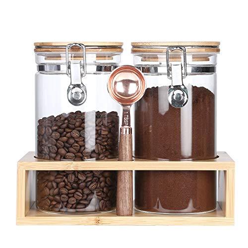 KKC Vorratsgläser mit Bambusdeckel - Kaffeedose Luftdicht - Kaffeebehälter Glas - Kaffeebohnen Behälter- 1,2 L 2er Sets