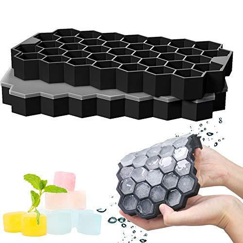 GoZheec 37 Fach Eiswürfelformen mit Deckel, 2 Stück Eiswürfelbehälter aus Silikon, FDA Zertifizierte Eiswürfelformen und BPA Frei, Ice Cube Tray Bier, Whisky, Fruchteiswürfel (Schwarz)