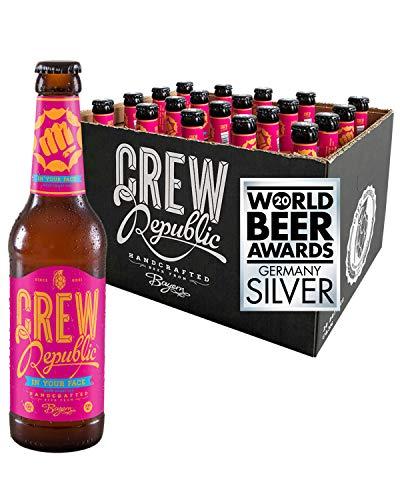 CREW REPUBLIC® In Your Face West Coast IPA Craft Bier | Platin Award American India Pale Ale 2019 | Hopfig & Trocken | Bierspezialität nach deutschem Reinheitsgebot in Bayern gebraut (20 x 0,33l)