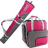 BRUBAKER Conjunto 'Super Function 2.0' Bolsa para Botas y Casco de ski Junto a 'Carver Pro 2.0' Bolsa para un par de Ski - Rosa/Gris - 170 cms.