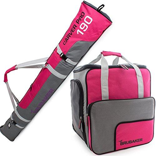 Brubaker Kombi Set Carver PRO - Limited Edition - Skisack und Skischuhtasche für 1 Paar Ski bis 170 cm + Stöcke + Schuhe + Helm Pink Grau