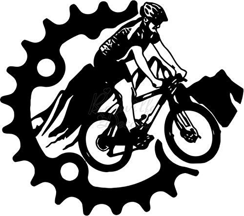 Mountain Bike Bicycling Gear Vinyl Decal Sticker for Home Office Decor Vehicle Window Sign Size- [20 inch] / [50 cm] Wide Color- Matte White