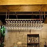 Alf cuelga Copas Vino Estante de Vidrio para Vino/Soporte para Colgar en el Techo Colgante para Botellas de Vino Metal Hierro Soporte para Copas de Vino portavasos/Altura Ajustable Barra de casa e