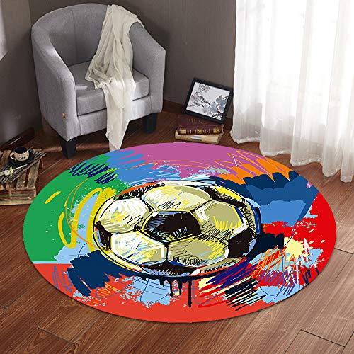 3D Rund Teppich Anti Rutsch, Morbuy Wohnzimmer Kinderzimmer Kindergarten Schlafzimmer Kuche Esszimmer Teppiche Modern rutschfest Weiche Spielmatte Matte (120x120cm,Fußball)