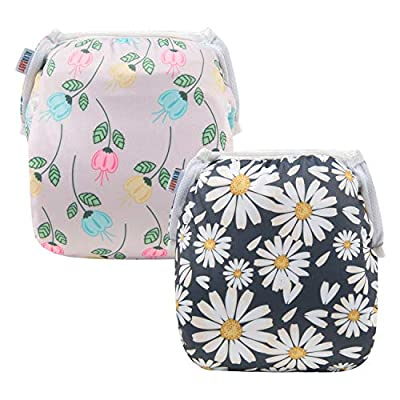 ALVABABY Baby Swim Diapers 2pcs One Size Reuseable Washable Adjustable for Swimming lesson Baby Shower Gifts YK-2108