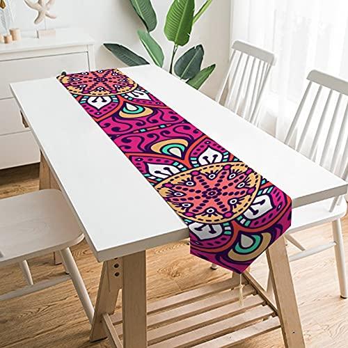 by Unbranded Camino de mesa de 177,8 x 33 cm, decoración de mesa para el hogar, diseño de simetría india étnica bohemia, psicodélico, decoración de mesa para boda, cocina, comedor, fiesta festiva