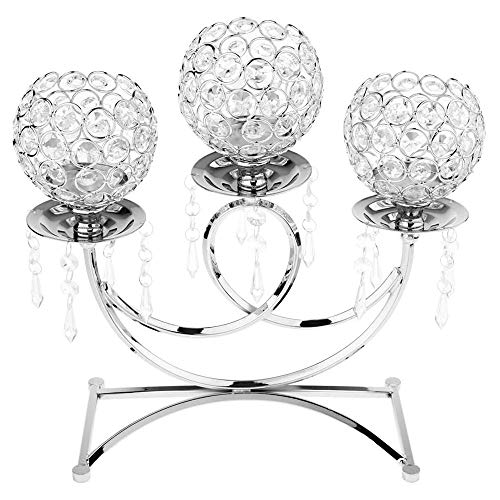 POFET Candelabro votivo de metal de cristal de 3 brazos de soporte de vela 36 cm de alto evento de boda Candelabro vela palillo decoración artesanía - plata