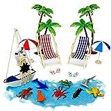 Tatuer Mini-Stranddekorationen Liegestühle Palmen Sonnenliegen Sonnenschirme Meerestiere Holzboot...