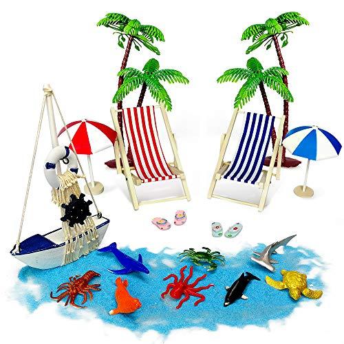 Tatuer Mini-stranddecoraties, ligstoelen, palmen, zonneligstoelen, parasols, zeedieren, houten boot miniatuur, decoratieve cadeaus voor badkamer, taart, vitrine, woonkamer, bureau, woning, 16 stuks