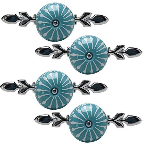 DyniLao 4 Uds pomos de cerámica pomo Vintage tirador de cajón tirador de muebles puerta armario armario tocador decoración azul