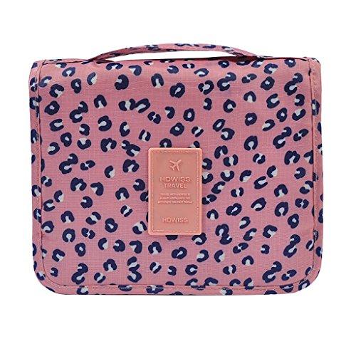 B Blesiya Trousse De Toilette à Suspendre avec Crochet Unisexe pour Maquillage - Léopard Rose, 48x24x1cm